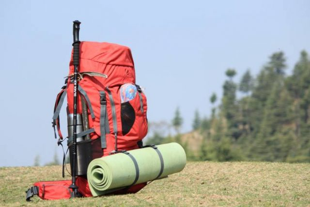 backpack with travel gear