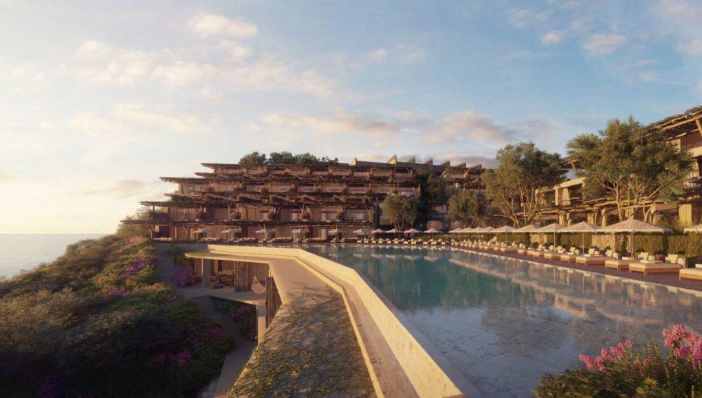 Six Senses Ibiza resort and pool overlooking Xarraca Bay