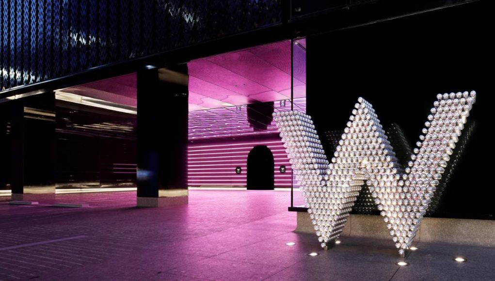 front of W hotel in japan