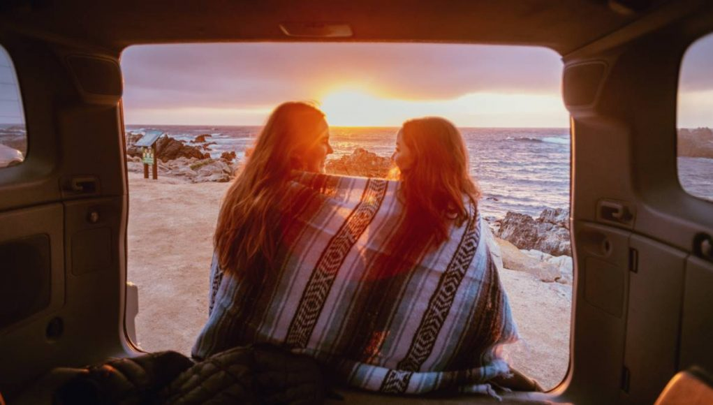 whatching the sunset from a van in Monterey California