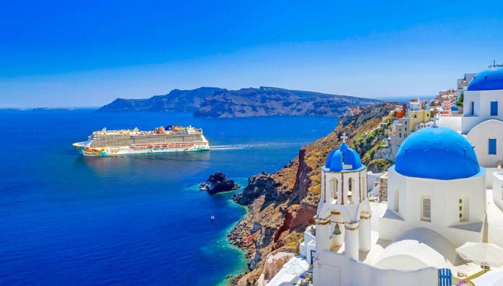 criuse ship off the Greek Islands