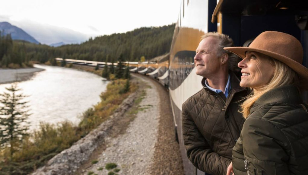 couple riding the luxury train Rocky Mountaineer