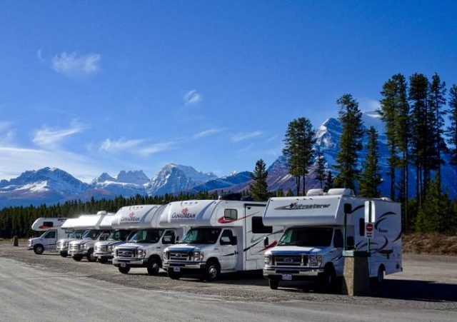 A GROUP OF RENTAL RVs