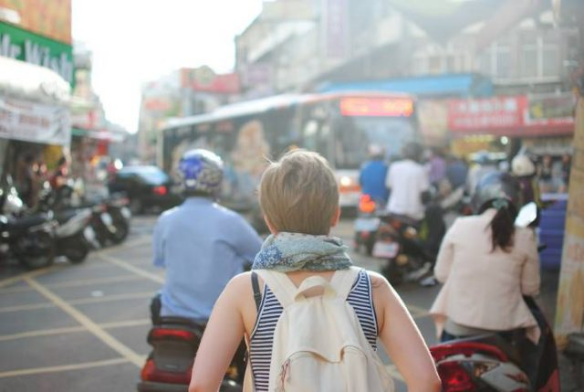 Woman Traveler Tourist Backpack People City