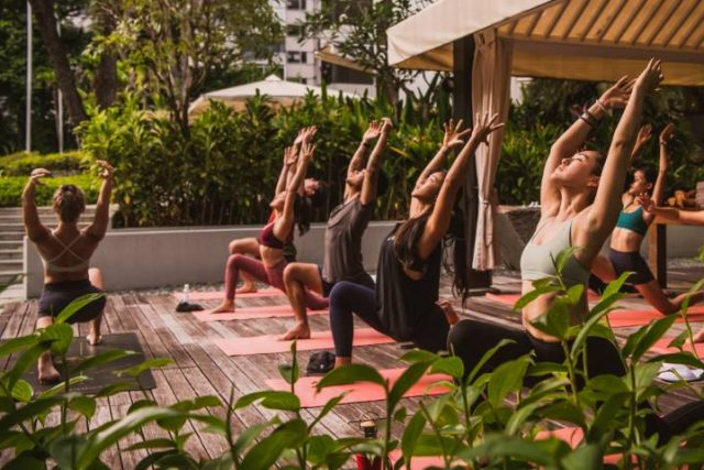 group yoga at a Hyatt hotel