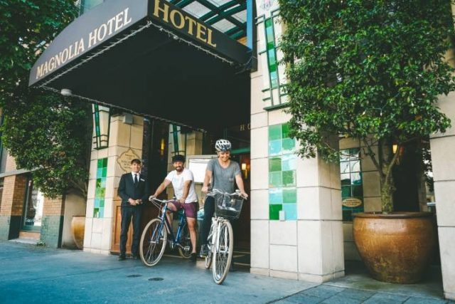 guest leave hotel with bikes
