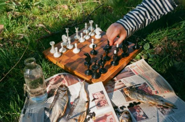 playing chess while on a picnic