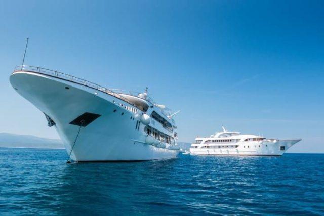 cruise ship in the Adriatic sea near Croatia