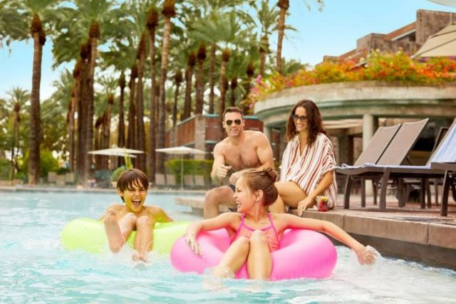 family at the pool in a Scottsdale hotel