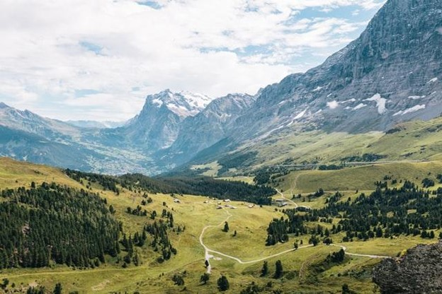 swiss mountians and valley